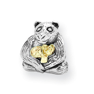 Sterling Silver & 14k Gold Reflections Mama & Baby Bear Bead