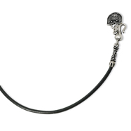"Sterling Silver Antiqued 3mm Black Leather Cord 18"" Necklace"