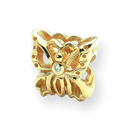 14K Gold Reflections 0.015ct. Diamond Butterfly Bead