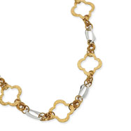 "Stainless Steel Gold IP Plated Fancy Link 21""  With Extender Necklace"
