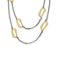 Stainless Steel Gold IP Plated Square Link Necklace