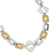 Stainless Steel Gold IP Plated Sqare Link Necklace
