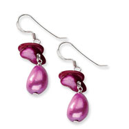 Sterling Silver Pink Mother of Pearl & Fresh Water Cultured Pearl Earrings