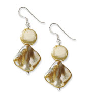 Sterling Silver Yellow Mother of Pearl & Fresh Water Cultured Pearl Earrings