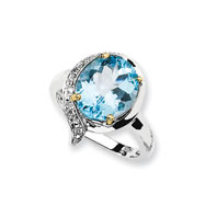 Sterling Silver & 14K Gold Sky Blue Topaz Diamond Ring