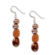 Sterling Silver Carnelian And Brown Freshwater Cultured Pearl Earrings