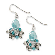 Sterling Silver Blue Stone & Light Blue Freshwater Cultured Pearl Earrings