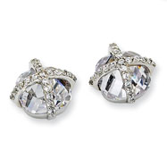 Sterling Silver Checker-Cut Round CZ Post Earrings