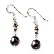 Sterling Silver Black Freshwater Cultured Pearl Earrings