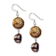 Sterling Silver Brown & Copper Freshwater Cultured Pearl Earrings