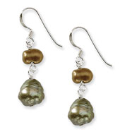 Sterling Silver Copper And Olivine Freshwater Cultured Pearl Earrings