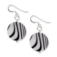 Sterling Silver Zebra Print Mother Of Pearl Disc Earrings