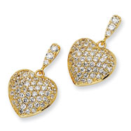 Gold-plated Sterling Silver CZ Heart Dangle Post Earrings
