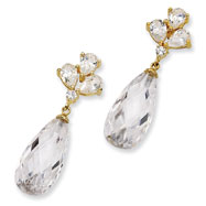 Gold-plated Sterling Silver Teardrop Dangle CZ Post Earrings
