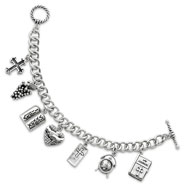 "Sterling Silver Answered Prayer 7.5"" Locket Charm Bracelet"