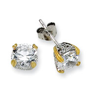 Sterling Silver & Gold-plated 6.5mm CZ Stud Earrings