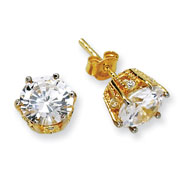 Gold-plated Sterling Silver 8mm CZ Stud Earrings