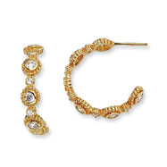 Gold-plated Sterling Silver CZ Post Fancy Hoop Earrings