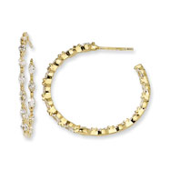 Gold-plated Sterling Silver In & Out Marquise CZ Post Hoop Earrings