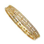 Gold-plated Sterling Silver CZ Three Bangle Set