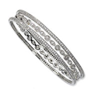 Sterling Silver CZ Three Bangle Set