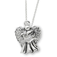 "Sterling Silver Antiqued Angel Of Faith 18"" Necklace"