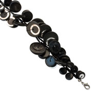 "Silver-tone Black Hamba Wood & Sequins 7"" Double Strand Bracelet"