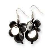 """Black Hamba Wood & Sequin 1.25"""" Dangle Earrings"""