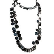 "Black Hamba Wood & Sequin Slip-on 46"" Necklace"
