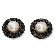 Gold-plated Sterling Silver Blk CZ Cultured Pearl Post Earrings