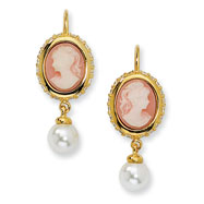 Gold-plated Sterling Silver Glass Pearl, Cameo, CZ Leverback Earrings