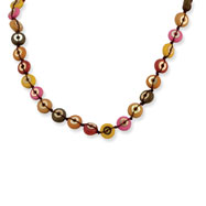 "Silver-tone Multicolored Hamba Wood & Sequin 16"" Necklace"