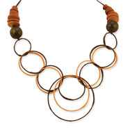 """Silver-tone Hamba Wood & Plastic Straw Wrapped Circles 22"""" Necklace"""