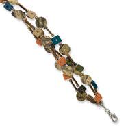 "Silver-tone Multicolored Coconut, Acrylic Bead & Sequin 7"" Bracelet"