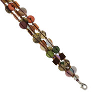 "Silver-tone Green/Red/Brown Hamba Wood & Sequin 7.25"" Bracelet"