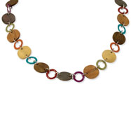 "Silver-tone Natural Hamba Wood 21"" Necklace"