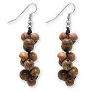 "Silver-tone Natural Hamba Wood 2"" Dangle Earrings"