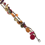 "Silver-tone Multicolor Hamba Wood, Coconut & Sequin 7.5"" Bracelet"