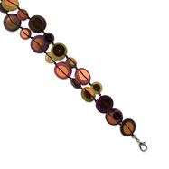 "Silver-tone Multicolored Hamba Wood & Sequin 7"" Bracelet"