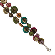 "Silver-tone Multicolored Hamba Wood & Sequin 7.25"" Bracelet"