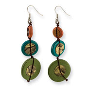 "Silver-tone Multicolored Hamba Wood & Sequin 2.75"" Dangle Earrings"