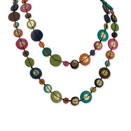 "Multicolored Hamba Wood & Sequin 46"" Slip-on Necklace"