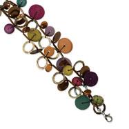 "Silver-tone Multicolored Hamba Wood, Bead & Sequin 7"" Bracelet"