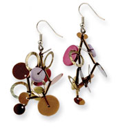 "Silver-tone Multicolored Hamba Wood Sequin & Beaded 2"" Earrings"