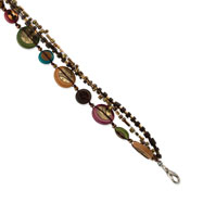 "Silver-tone Hamba Wood, Coconut, Acrylic Bead & Sequin 7.5"" Bracelet"