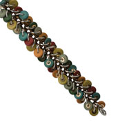 "Silver/Copper-tone Multicolored Hamba Wood 7.5"" Bracelet"