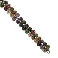 "Silver-tone Multicolored Hamba Wood & Sequin 7.5"" Bracelet"