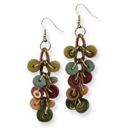 "Silver/Copper-tone Multicolored Hamba Wood 2.75"" Earrings"