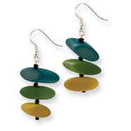 "Silver-tone Green, Yellow & Turquoise Hamba Wood 2"" Earring"