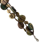 "Silver-tone Multicolored Hamba Wood & Sequin 7.5"" Bracelet"